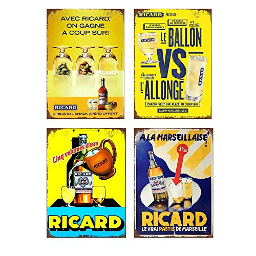 Easy Painter Tin Beer Signs Series Ricard Tin Poster Decoration for Home Bar 4Pcs 12x8inch (Ricard Poster)