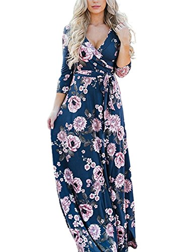 YOUCOO Womens Floral Print Dress 3/4 Sleeve Faux Wrap Long Maxi Dress with Belt Blue