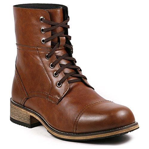 [Metrocharm MC001 Men's Lace Up Cap Toe Formal Dress Casual Fashion Boots (11, Brown)] (Mens Brown Combat Boots)