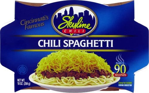 10 Ounce Chili (Skyline Chili & Spaghetti-Microwaveable 10 oz Dish, Ready in 90 Seconds, 6 PACK (Shredded Cheese Not Included))