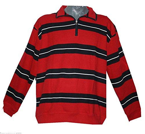 Greystone Herren Sweatshirt Troyer Übergrößen schwarz rot gestreift 4xl
