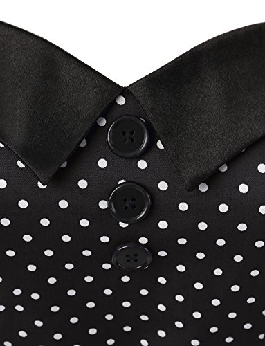Dressystar Vintage Polka Dot Retro Cocktail Prom Dresses 50's 60's Rockabilly Bandage Black L by Dressystar (Image #4)