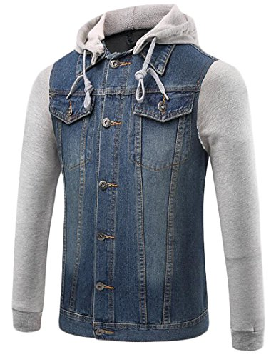 Papijam Mens Casual Rugged Fake Two Contrast Color Hooded Denim Jackets Light Blue Large