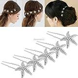SBE Women Wedding Bridal Bridesmaid Faux Pearl Crystal Star starfish Hair U Pin Clip (Star White Hair Pin 10pcs/Set)