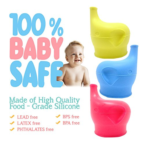 5 Pack Elephant Silicone Spout Makes Cup into Spill Silicone Sippy Cup Lids