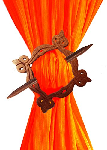 - Handmade Wooden Square Curtain Tiebacks Holdbacks Binds, Home Decorative, Curtains For Bedroom, Curtain Beads For Doorways, Brown Color Size 8 X 0.5 Inch