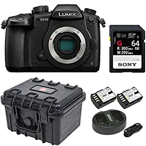 "Panasonic GH5 Lumix 4K Mirrorless , 20.3 MP, Wi-Fi + Bluetooth,3.2"" LCD w/ 64GB SF-G Series UHS-II & Hard Case Bundle"