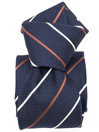 Elizabetta Men's Italian Silk Grenadine Tie, Navy, White & Copper Stripe