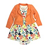 Monvecle 2 Pack Baby Girls' 2-Piece Printed Flower Dress and Cardigan Set Orange 12-18M