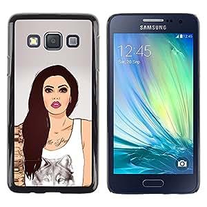 Stuss Case / Funda Carcasa protectora - Girl Wolf Art Ink Tattoo Woman Pink Lips - Samsung Galaxy A3 SM-A300