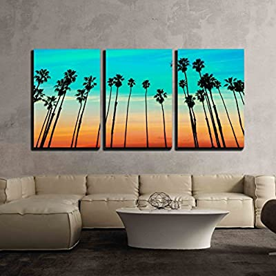 3 Piece Canvas Wall Art - California Sunset Palm Tree Rows in Santa Barbara US - Modern Home Art Stretched and Framed Ready to Hang - 16