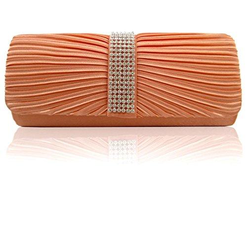mariage Orange Diamante satiné Sacs Corail épaule plissé Bal Femme main Femme fête ZARLA de d'embrayage à Designer Sacs 8f11qg