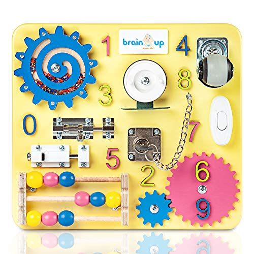 Busy Board - Busy Board for Toddlers - Sensory Board - Busy Board for Kids - Activity Board for Toddlers - Locks and latches Activity Board - Baby Activity Board - Boy and Girl 12-18 Month (Sensory Lock)