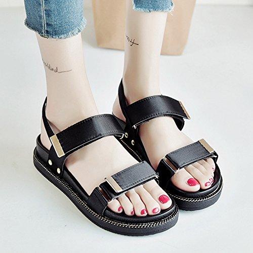 RUGAI-UE Sandalias de verano estudiantil inferior grueso zapatos de mujer Black