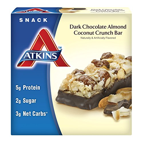 Atkins Snack Bar, Dark Chocolate Almond Coconut Crunch, 5 Bars