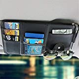 MIGHTYDUTY PU Leather Car Sun Visor Organizer Bag Multi-Function Car Space Hanging Card Phone Storage Pouch Holder with Zipper Card Slots Sunglass Clip, Black