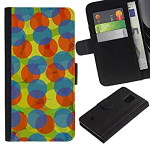 Paccase / Billetera de Cuero Caso del tirón Titular de la tarjeta Carcasa Funda para - Blue Orange Polka Dot Pattern - Samsung Galaxy S5 Mini, SM-G800, NOT S5 REGULAR!
