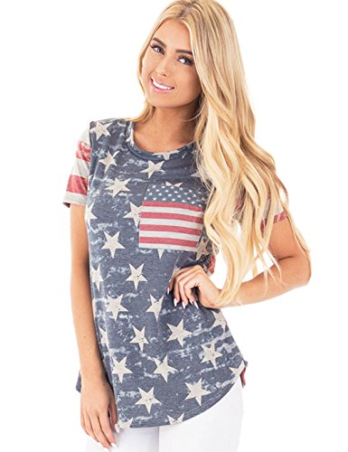 Women Girls Summer Flag Printed Tops Short Sleeve Blouse Shirts United States Tees Medium