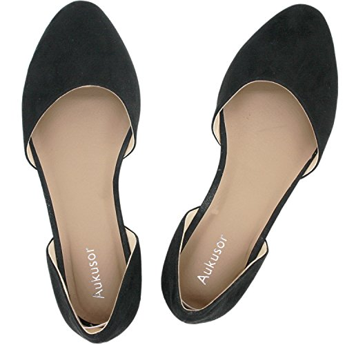 Aukusor Women's Wide Width Ballet Flat - Comfortable Slip On Closed Toe Casual Shoes. (Black 180317, 6.5WW)