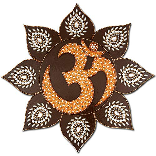(Yoga Room Decor - Om Symbol Wall Painting - Boho Decor for Living Room - 100% Handcrafted in India)