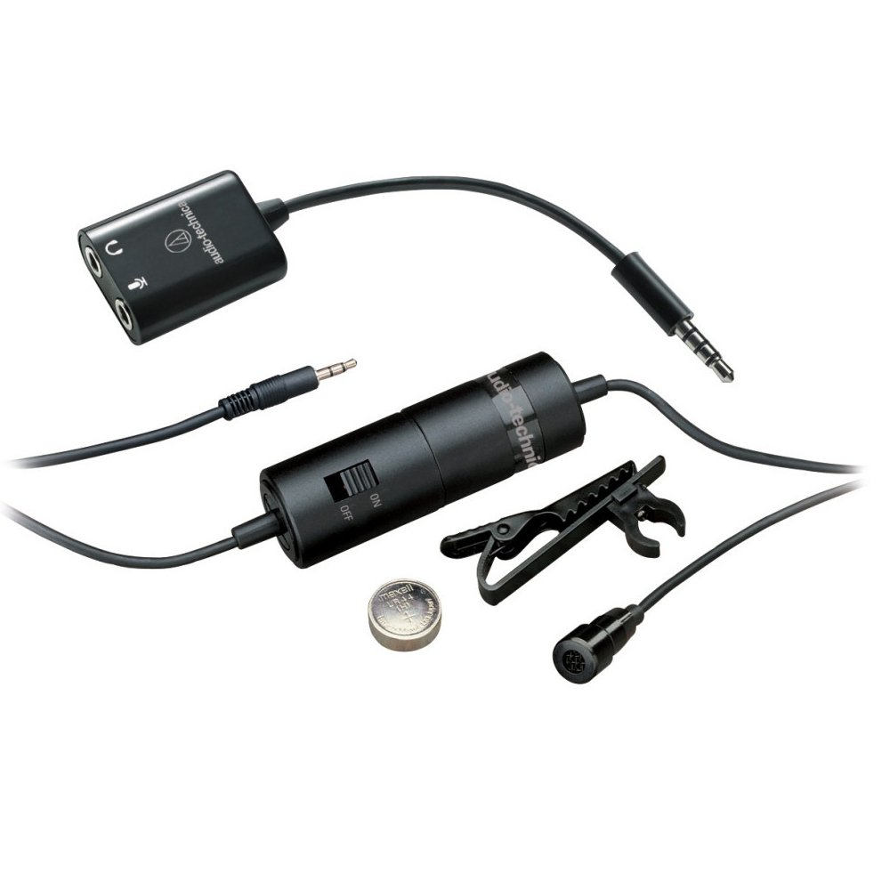Audio-Technica ATR-3350IS Omnidirectional Condenser Lavalier Mic with Smartphone Adapter