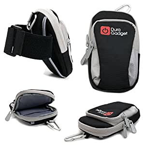 DURAGADGET High Quality Nylon Sports Armband Case in Black - Running, Cycling & Gym Smartphone Case / Holder With Multiple Pockets for New BlackBerry P'9983 Graphite / BlackBerry Classic