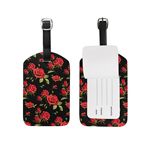 Chen Miranda Floral Pattern With Red Roses Luggage Tag PU Leather Travel Suitcase Label ID Tag Baggage claim tag for Trolley case Kid's Bag 1 Piece