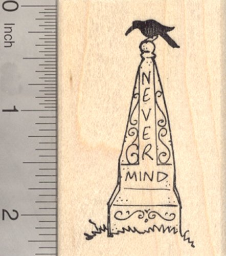 Halloween Tombstone Rubber Stamp, Gothic Grave Stone with