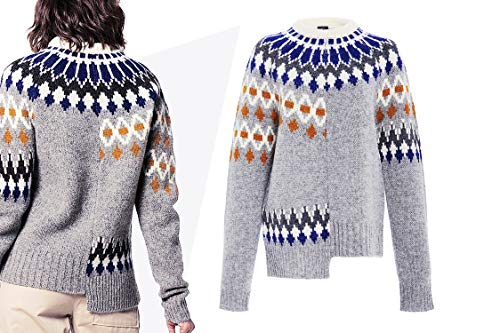 Fair Isle Crewneck Sweater - YISHI Women's Tops 2018 Fashion Sweaters Pullover with Unique Blouses Textile Printing Design (Small)