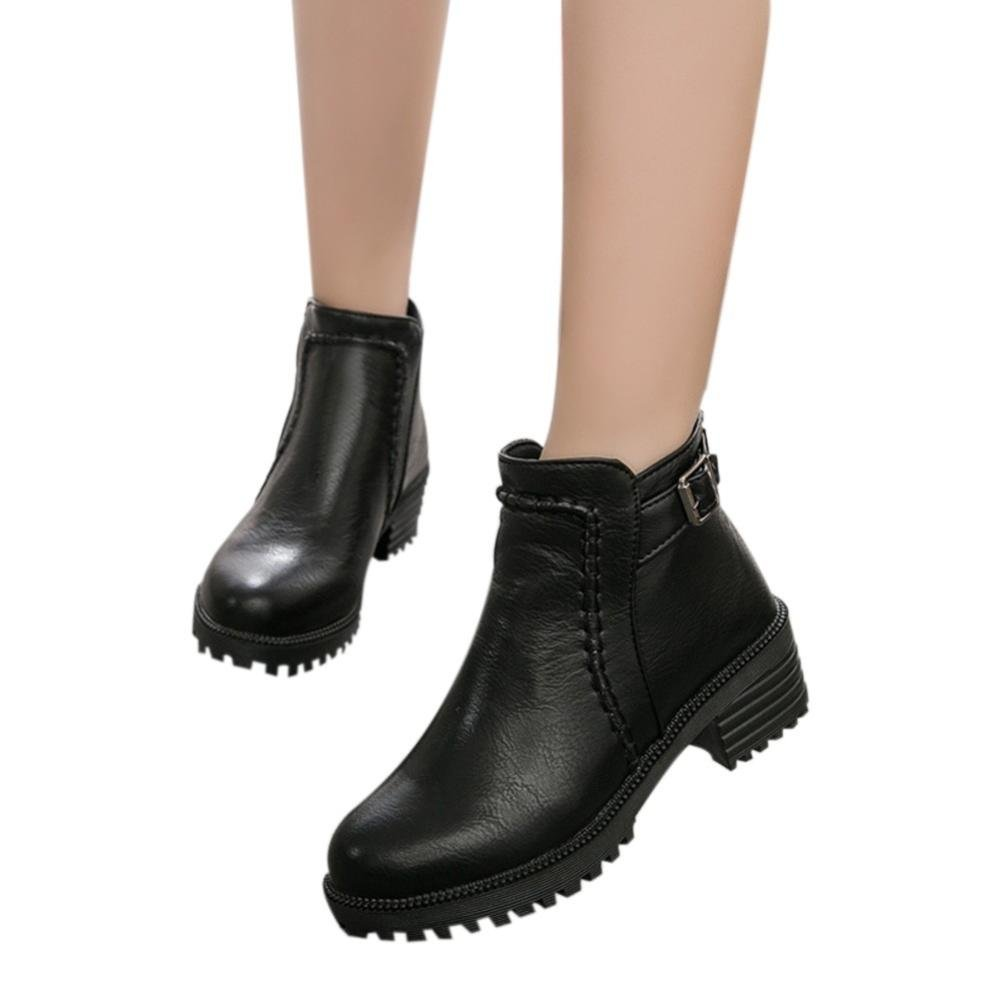 Hemlock Ladies Boots, Womens PU Leather Shoes Martin Boots Zipper Martens Ankle Shoes (US:9.5, Black-1)