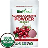 Biofinest Acerola Cherry Juice Powder - 100% Pure Freeze-Dried Antioxidant Superfood - USDA Organic Vegan Raw Non-GMO - Boost Digestion Weight Loss - for Smoothie Beverage Blend (4 oz Resealable Bag)