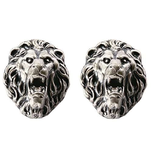 A.B Crew Pack of 2 Vintage Style Tin-Lead Alloy Animal Cabinet Cupboard Drawer Knob(Lion,Screw Length: 5cm/1.97