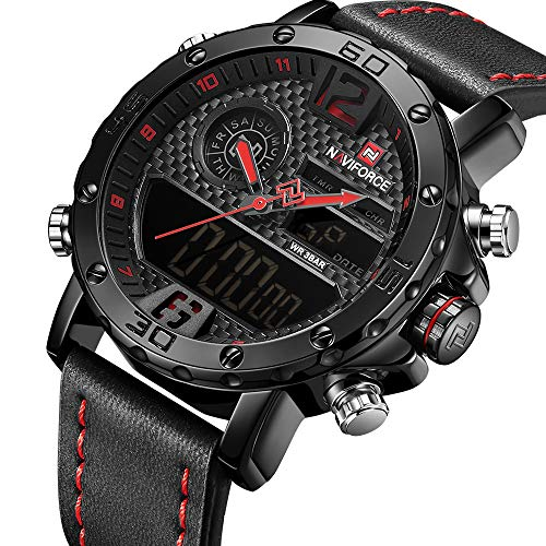 Men Sport Chronograph Dual Display Watch Leather Strap Man Fashion Waterproof Casual Wrist Watch …
