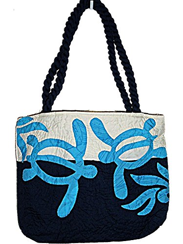 HAWAIIAN HONU TURTLE QUILTED PUALANI BAG PURSE -BLUE by East of Maui Hawaiian Store