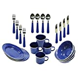 outdoor dining ware - Stansport Enamel Camping Tableware Set, 24-Piece, Blue