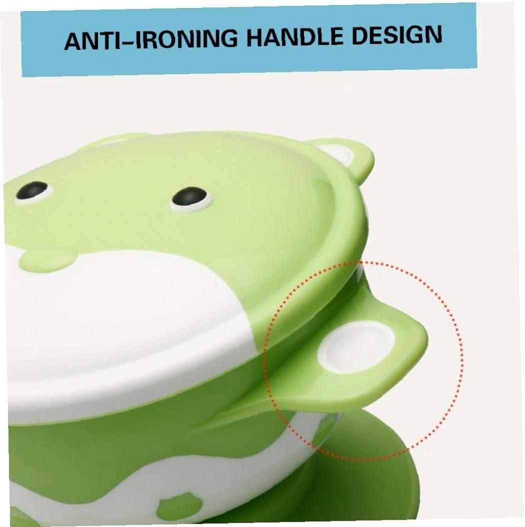 Homvik Set Taz/ón Silicona con Ventosa para Beb/é Vajilla Infantil Antideslizante con Succi/ón Cuenco Antideslizante con Cuchara Silicona para BLW(Verde)