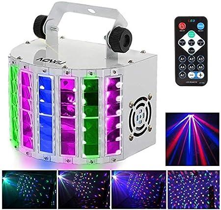 Mini Luz de Escenario,Lixada 24W RGBW Luz de Discoteca,7 Canales DMX-512,Automático/Sonido Control/Velocidad Ajuste/Estroboscópico/Control Remoto,Proyector DJ Perfectas para el Hogar KTV Disco
