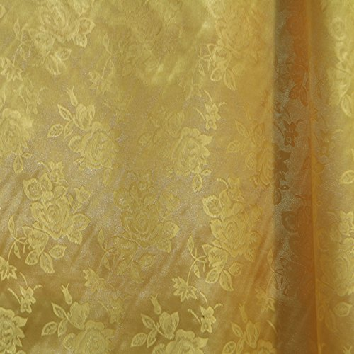 Gold Satin Floral Jacquard Fabric 58 inches wide sold by the yard