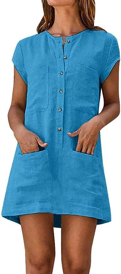 Vestidos de Mujer Casual Cortos, MINXINWY Vestidos de Verano Mujer 2019 Vestido de Playa Vestido de algodón Lino botón Faldas Cortas Vestido de Bolsillo Vestido Color ...