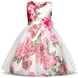 NNJXD Girl Flower Printed Cotton Elegant Tulle Bow Belt Princess Dress Size (130) 5-6 Years Pink