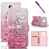 LG Stylo 3 LS777 Case, LG Stylus 3 Case LEECOCO Print Floral Bling Crystal Diamonds Wallet Case with Card Slots Slim Pu Leather Flip Stand Case Cover for LG G Stylus 3/LG Stylo 3 3D Stay Beautiful