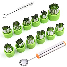 Timgou 12 pcs vegetable fruit cutter shapes set with melon baller scoop and cleaning brush, fruit and mini cookie stamps mold for kids crafts baking decorating food-green 1 12 different shape: there are 12 pcs different shape cutters in the package, contains shape of fish, rabbit, flower, duckling, star, strawberry, mushroom and so on. Come with melon baller and cleaning brush: the stainless steel fruit scoop helps to make ball shape fruit to decorate your made dish, small brush to clean the mold in hard reaching corner. Simple and extensive use: just press the twist gently, you can get a pattern you want. Widely used for sugar cake, diy biscuits, chocolate, mini pie, cookies, make fruit and vegetables into multiple shapes for salad or fruit tray, suit for kids having fun in diy.