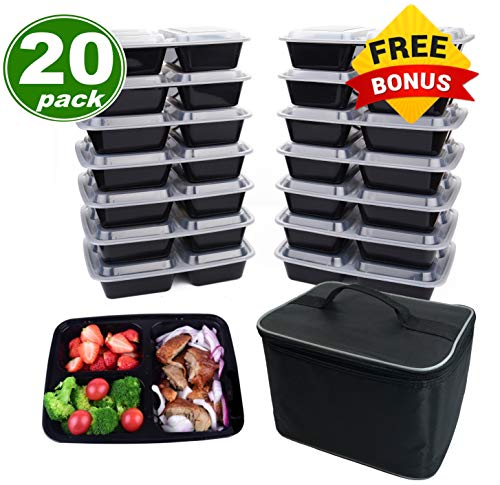 Meal Prep Containers 3 Compartment [20 Pack], w/Bonus Lunch Bag, BPA Free, Freezer, Microwave, Upper Dishwasher Safe, Reusable Bento Boxes, Lunch Boxes, Lunch Containers(32 oz) ()