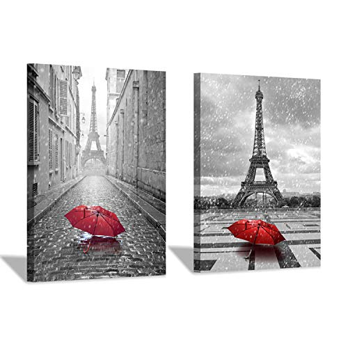 (Eiffel Tower Canvas Wall Art: Umbrella in Paris Graphic Art Print Painting for Wall Decor (18''x24''x2pcs/Set))