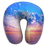 Creative River Mirrors Skys Color Design Comfortable U Shaped Neck Pillow Soft Neck Support Pattern Pillow For Rest,Travel,Car,Airplane,Bed,Sofa
