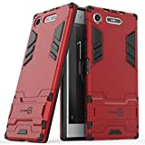 Xperia XZ1 Case, CoverON Shadow Armor Series Modern Style Slim Hard Hybrid Phone Cover with Kickstand Case for Sony Xperia XZ1 - Red