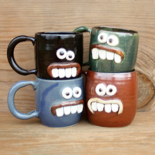Ug Chug Overbite Face Mug. Funny Handmade Pottery Coffee Cup. Medium 12 – 16 Ounces. Blue, Green, Red Brown or Chocolate Black.