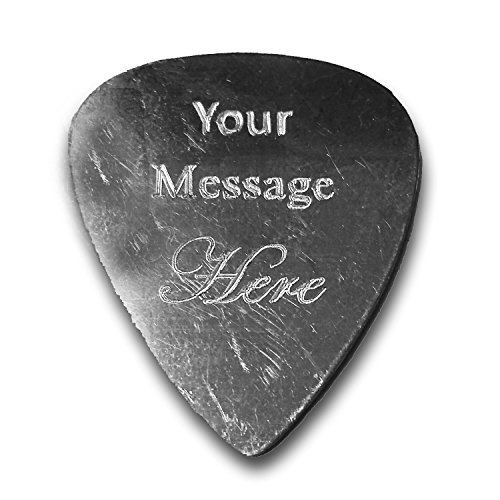 Personalized Add Your Own Engraved Text Guitar and Bass Pick Custom Customizable Gift SILVER Aluminum (Single Side Engraving)]()