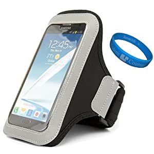 Premium Workout Armband Pouch for Videocon A51 / OPPO Find 7a / vivo Xplay 3S / ARCHOS 50c Oxygen / Amazon Fire Phone Smart Phones + SumacLife TM Wisdom Courage Wristband (Black)