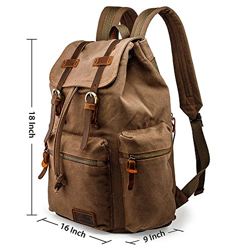 c6c5d7e0a1c4 GEARONIC TM 21L Vintage Canvas Backpack for Men Leather Rucksack Knapsack  15 inch Laptop Tote Satchel